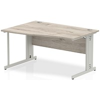 Trexus 1400mm Wave Desk, Left Hand, Cable Managed Silver Legs, Grey Oak