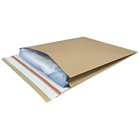 Kraft Mailer Eco Gusset Envelopes, 400x500mm, V Bottom, Side 50mm Gussets, Double Peel and Seal, Manilla, Pack of 50