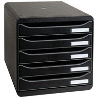 Exacompta Big Box Plus Drawer Set with 5 Drawers, A4+, Black