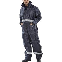 Click Freezerwear Coldstar Freezer Coveralls, Large, Navy Blue