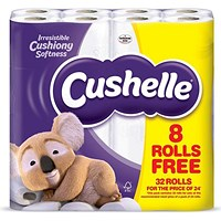 Cushelle Toilet Rolls, White, 2-Ply, 180 Sheets per Roll, 1 Pack of 32 Rolls (24 Plus 8 Free)
