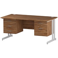 Trexus 1600mm Rectangular Desk, White Legs, 2 Pedestals, Walnut