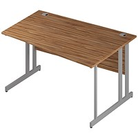 Trexus 1400mm Wave Desk, Right Hand, Silver Legs, Walnut