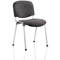 Trexus Stacking Chair, Chrome Frame, Charcoal