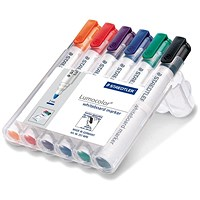 Staedtler 351 White Board Marker, Locked Tip, Assorted, Pack of 6