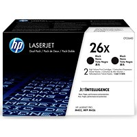 HP 26X Black High Yield Laser Toner Cartridges (2 Cartridges)