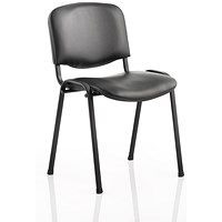 Trexus ISO Black Frame Stacking Chair - Black Vinyl