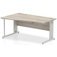 Trexus 1600mm Wave Desk, Left Hand, Cable Managed Silver Legs, Grey Oak