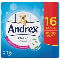 Andrex Classic Toilet Rolls, White, 2-Ply, 200 Sheets per Roll, 1 Pack of 16 Rolls
