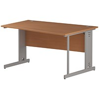 Trexus 1400mm Wave Desk, Right Hand, Cable Managed Silver Legs, Beech