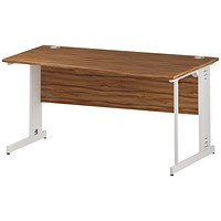 Trexus 1600mm Wave Desk, Right Hand, Cable Managed White Legs, Walnut