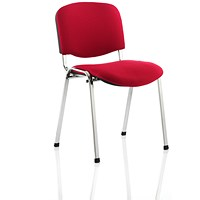 Trexus Stacking Chair, Chrome Frame, Red