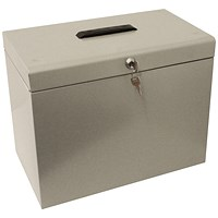 Metal File Box with 5 Suspension Files and 2 Keys, A4, Silver