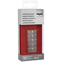 Sigel SuperDym Magnets C5, Cube, Silver, Pack of 10