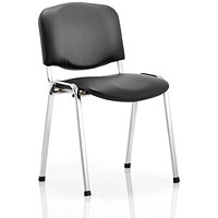Trexus ISO Chrome Frame Stacking Chair - Black Vinyl