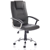 Trexus Thrift Leather Executive Chair, Padded Arms, Black