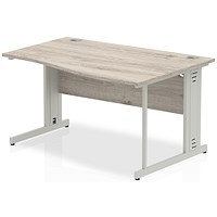 Trexus 1400mm Wave Desk, Right Hand, Cable Managed Silver Legs, Grey Oak
