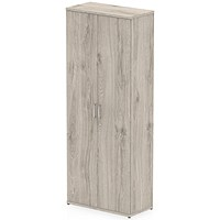 Trexus Tall Office Cupboard, 4 Shelves, 2000mm High, Grey Oak