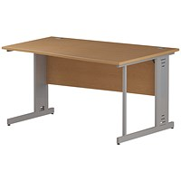 Trexus 1400mm Wave Desk, Right Hand, Cable Managed Silver Legs, Oak