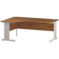 Trexus 1800mm Corner Desk, Left Hand, Cable Managed White Legs, Walnut