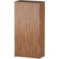 Trexus Medium Tall Office Cupboard, 3 Shelves, 1600mm High, Walnut