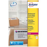 Avery Weatherproof Laser Shipping Labels, 8 per Sheet, 99.1x67.7mm, L7993-25, 200 Labels