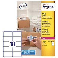 Avery BlockOut Jam-free Laser Shipping Labels, 10 per Sheet, 99.1x57mm, L7173B-100, 1000 Labels