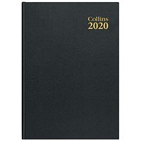 Collins 2020 Royal Desk Diary, Day to a Page, A5, Black