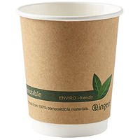 Ingeo Kraft Paper Cups, 8oz, Double Wall, Pack of 25