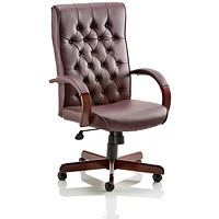 Trexus Chesterfield Leather Executive Chair, Burgundy