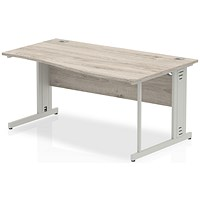 Trexus 1600mm Wave Desk, Right Hand, Cable Managed Silver Legs, Grey Oak