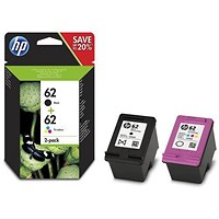 HP 62 Black/Tri-Colour Ink Cartridges (2 Cartridges)