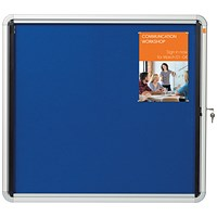 Nobo Indoor Noticeboard with Lockable Glazed Case, Fabric, 6xA4, W692xH752mm, Blue