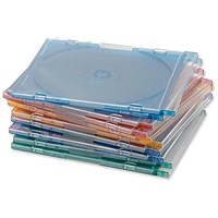 Slimline Jewel CD Case for 1 Disk, W125xD5xH124mm, Assorted - Pack of 100