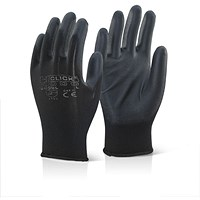 Click 2000 Economy Pu Coated Gloves, Medium, Black, Pack of 100