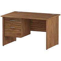 Trexus 1200mm Rectangular Desk, Panel Legs, 2 Drawer Pedestal, Walnut