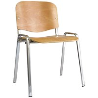Trexus Stacking Chair, Chrome Frame, Beech