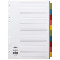 Concord Recycled Dividers / 10-Part / Multicoloured Tabs / A4 / White
