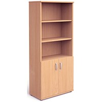 Trexus Tall Cupboard, Open Shelves, 2000mm High, Beech