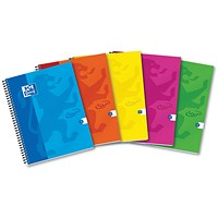 Oxford Soft Touch Wirebound Notebook, A4, Assorted Colours, Pack of 5