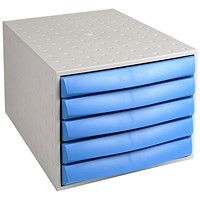 Exacompta A4+ Plastic Five Drawer Set - Grey & Blue