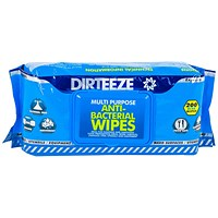 Dirteeze Anti-Bacterial Wipes, Soft Dispenser Pack, Blue, 200 Wipes