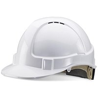 B-Brand Wheel Ratchet Vented Safety Helmet - White