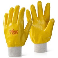 Click 2000 Nitrile Coated Knitwrist Heavy Weight Gloves, Extra Large, Yellow, Pack of 100