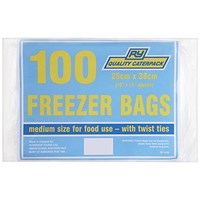Caterpack Freezer Bags, Medium, Twist Ties, Pack of 100
