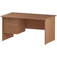 Trexus 1400mm Rectangular Desk, Panel Legs, 2 Drawer Pedestal, Beech