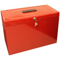 Metal File with 5 Suspension Files 2 Keys and Index Tabs, Foolscap, Red
