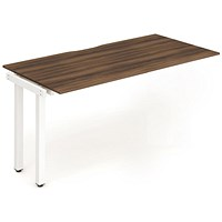 Trexus 1 Person Bench Desk Extension, 1200mm (800mm Deep), White Frame, Walnut