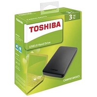 Toshiba Canvio Basics Hard Drive, USB 3.0 and 2.0, 3TB, Black