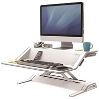 Fellowes Lotus Sit-Stand Workstation Lift Technology, 22 Height Adjustments, White